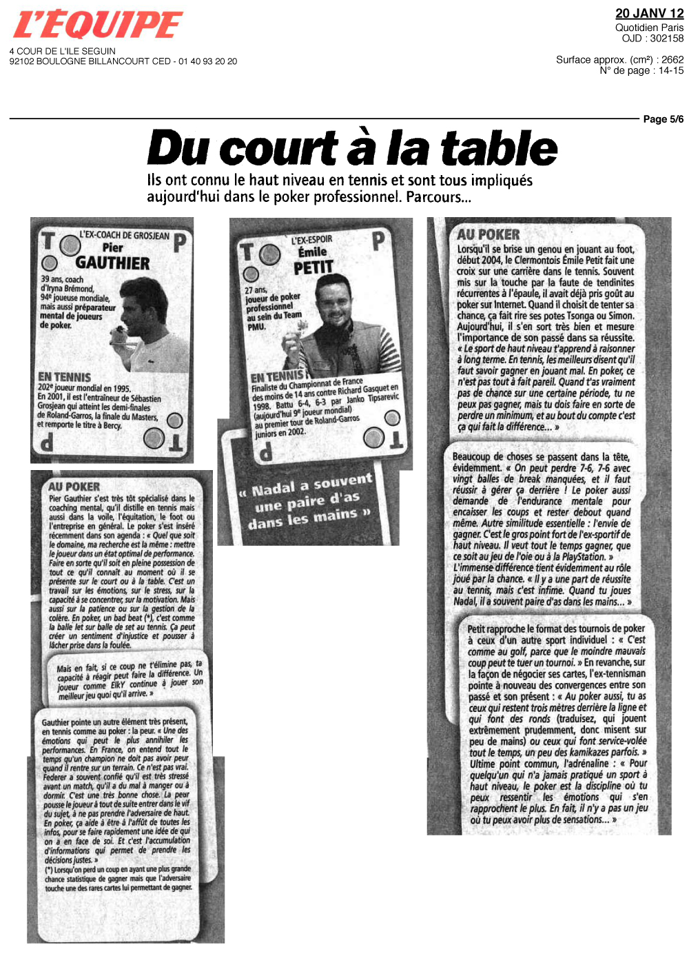 Artricle L'Equipe Coaching Mental dans le Monde du Poker
